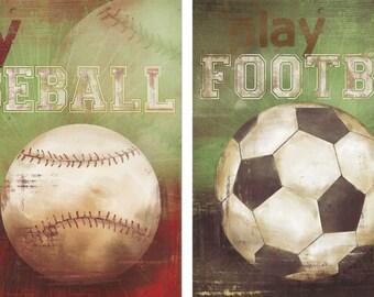 Baseball and Football Sports Wall Art , Baseball Nursery Decor, Baby Boys Room, Print Baseball Art, Football Art, soccer art,