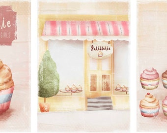 set of 3 art prints -Vintage cupcake Illustration Art Print- home decor- kids decor- wall art illustration