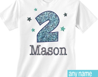 2nd birthday boy shirt - any name and age 2 birthday - blue