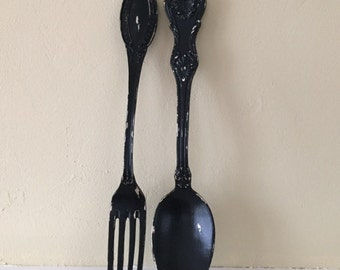 Fork and spoon large wall decor, distressed shabby chic, Sale