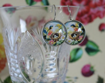 French Lever Back Earrings, French Lever Earrings, Glass Cabochon Earrings, French Lever Back Glass Cabochon Earrings