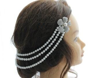 Ivory Pearl Hair Drape.