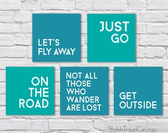 INSTANT DOWNLOAD Printable Travel Quotes for DIY Prints, Postcards and Scrapbooking (1st ed. blue + teal)