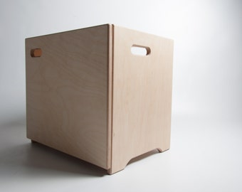 Storage Stool - Portable Stool, Storage Cupboard & Side table - Baltic Birch Plywood - Seat / Cabinet
