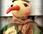 "Primitive Folk Art Detailed 32""  OOAK Winter Tyme Snowman Doll--Christmas--Hafair Team"