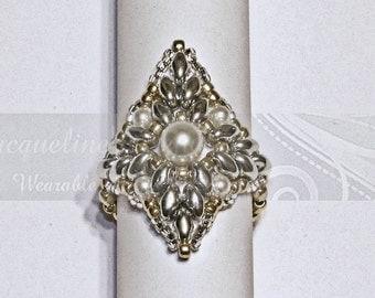 Diamond Duo Beaded Pearl Ring