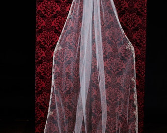 Beaded silver Embroidery Cathedral/Chapel/length wedding veil
