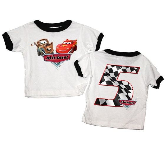 Personalized Cars Birthday Front\ Back Black or Red Ringer T Shirt - lightning mcqueen, tow mater, radiator springs, disney, race,