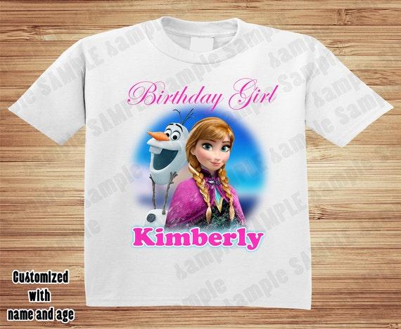 Personalized Disney Frozen birthday t-shirt -Anna, Olaf,