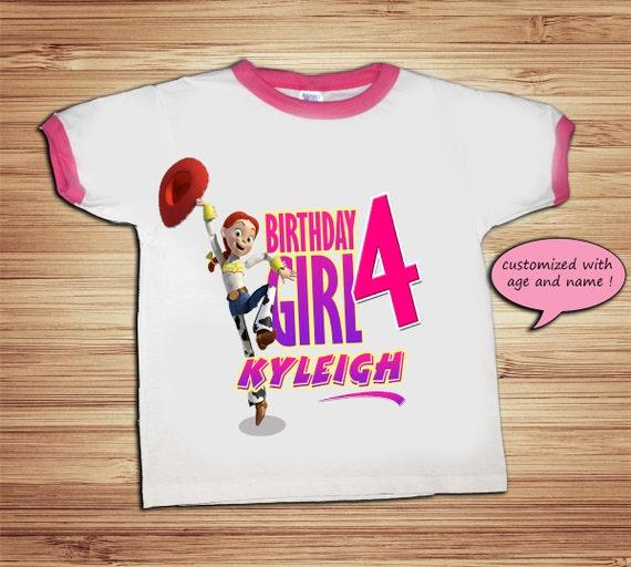 Toy Story Jessie Birthday Pink Ringer T Shirt - Personalized Custom -  Woody, Buzz Lightyear, Jessie