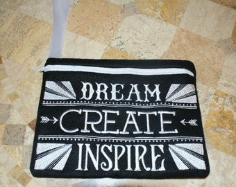 Dream Create Inspire wristlet / zippered pouch