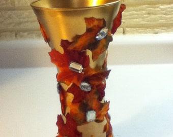 Autumn Leaves Embellished Vase