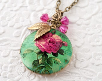 Pink Rose Locket Necklace Rose Photo Locket Flower Necklace Locket Jewelry Bronze Locket Teal Green Locket Nature Jewelry Mother's Day Gift