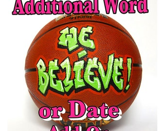 Additional word or date on sports ball