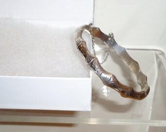 Vintage .925 Sterling Silver Bamboo Bracelet