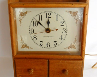 Vintage General Electric Kitchen Wall Clock, Wooden, Cabinet Style