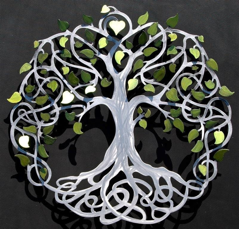 infinitytree of life wall decor metal tree art with green. Black Bedroom Furniture Sets. Home Design Ideas