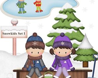 SnowKids - Set I Clipart