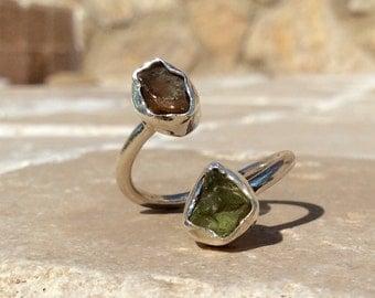 Raw Green and Orange Apatite Sterling Silver Ring - Dual Gemstone Ring, Raw Apatite Ring, Natural Gemstone Ring