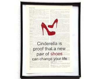 New shoes change your life vintage art print encyclopedia art print encyclopedia old book pages
