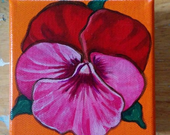 Original Chunky Shelf Sitter Pansy Painting-Orange