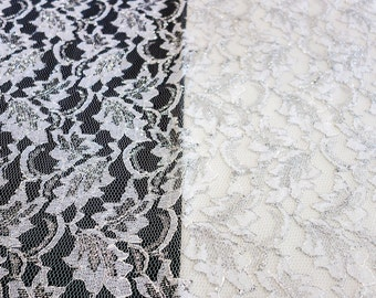 White Lace Fabric with Silver Embroidery
