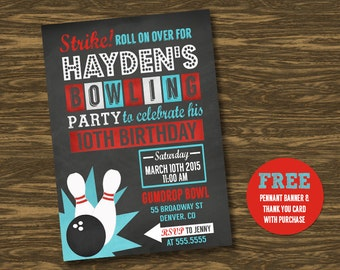Chalkboard Bowling Birthday Invitation - Printable - FREE pennant banner and thank you card with purchase