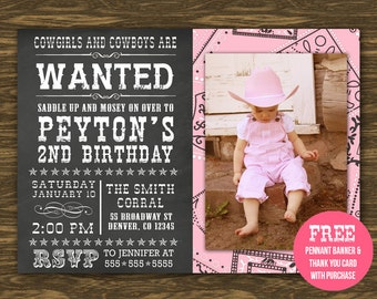 Chalkboard Cowgirl Birthday Invitation - Printable - FREE pennant banner and thank you card with purchase