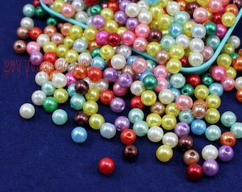 300pcs-Colorful Bead, Plastic Imitation Pearl Bead, Round Acrylic Beads 6mm