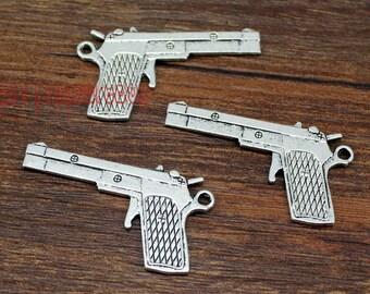 10pcs--Handgun Charms, Antique Tibetan Silver Gun Charm Pendants 41x23mm