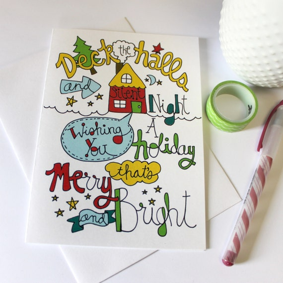 Holiday Christmas Card Original Doodle Illustration