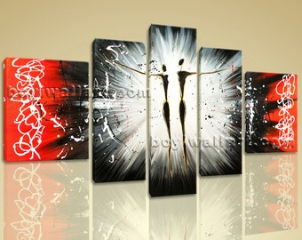 """Huge Giclee Print Stretched Canvas Wall Art Contemporary Abstract Dancing Ready To Hang BoYi 62""""x38"""""""