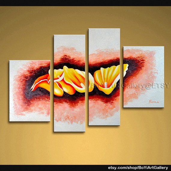"""Original Modern Contemporary Abstract Oil Painting Large Wall Art Canvas Textured Tulip Flower 59"""" x 42"""""""