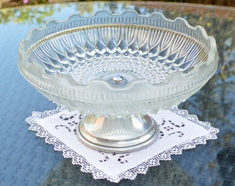 Vintage Clear Pressed Glass Pedestal Cake Stand Fruit Sweet or Bon Bon Dish with Silver Metal Foot