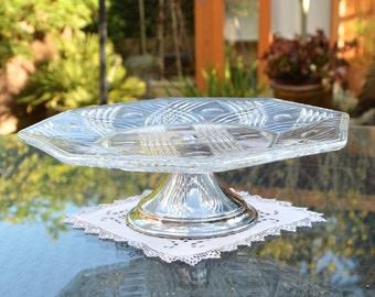 Vintage Clear Pressed Glass Pedestal Cake Stand or Fruit Platter with Silver Metal Foot - Hexagonal Shape.