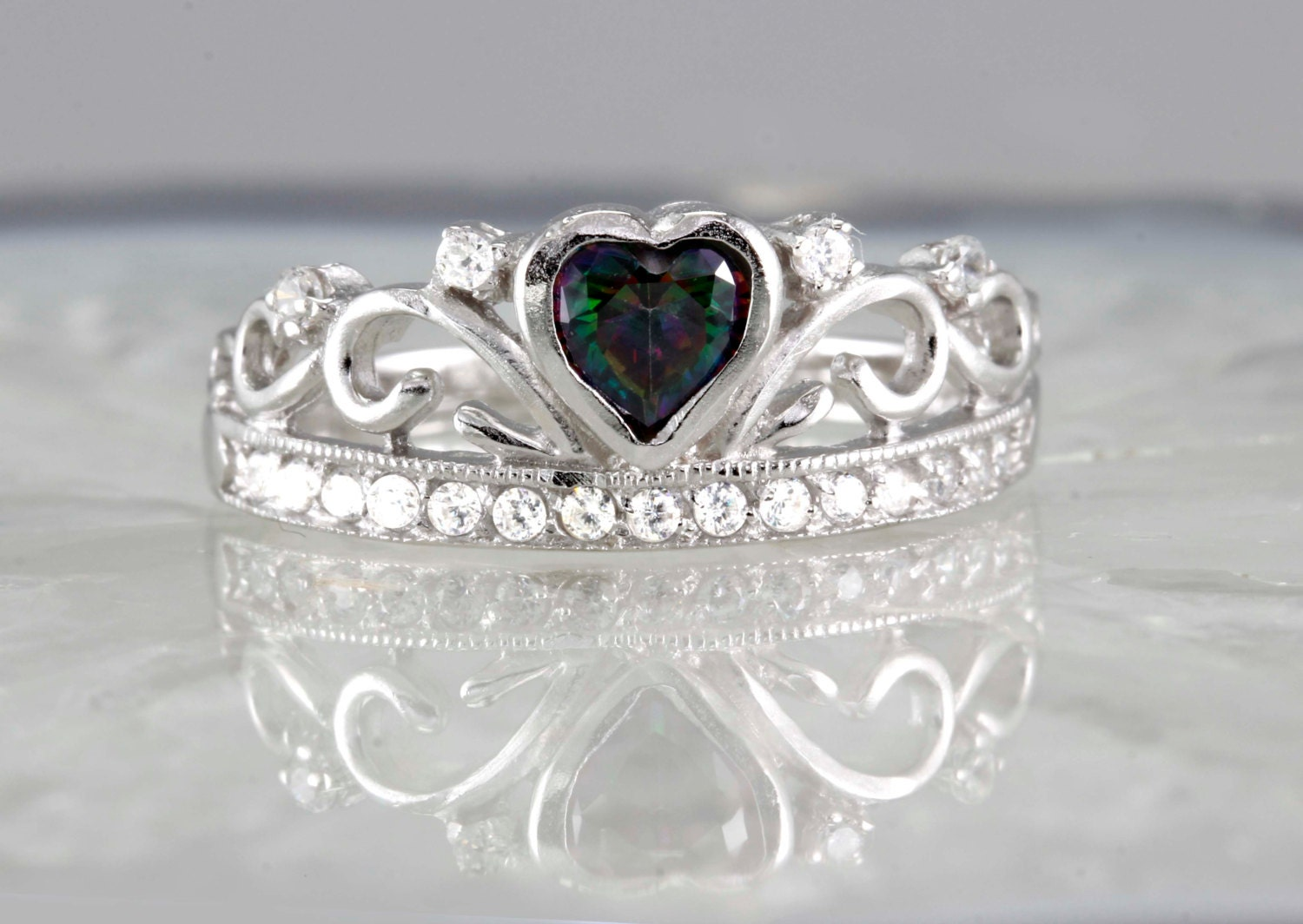 sterling silver topaz crown tiara ring with stones