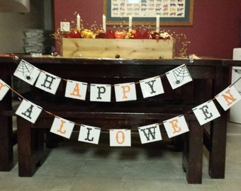 Happy Halloween Banner perfect for your mantel. Laminated cardstock, strung with ribbon.