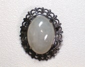 Vintage Jade Cabochon Pendant Pin Brooch Sterling Silver Lace Edge