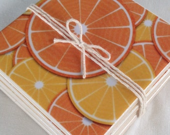 Ceramic Tile Coasters - Retro Style