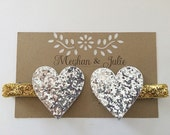 Silver and Gold Glitter Hearts Hair Clips, Valentine's Day Hair Clips, Girls Sparkly Hearts Hair Clips MeghanandJulie, Baby Hair Clips