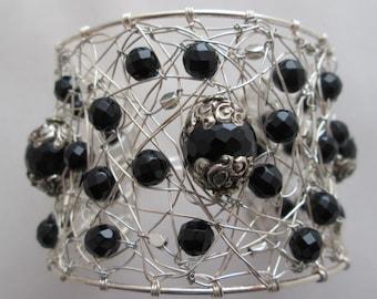 Wire Wrapped Black Onyx Cuff Bracelet