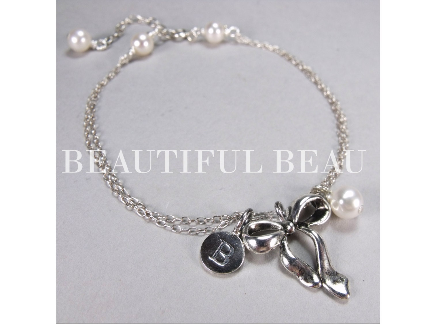 silver initial charm bracelet bridesmaid initial by