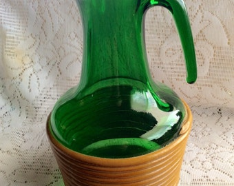 Vintage emerald green depression glass rattan pitcher