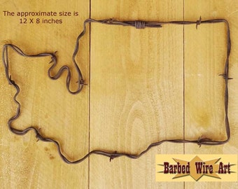 Washington - Handmade rustic barbed wire art sculpture
