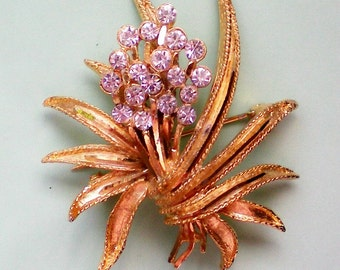 Signed BSK Gold tone Floral Fireworks Pin - 2879