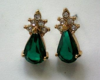 Emerald Green Rhinestone Pierced Earrings for the Holidays - 3662