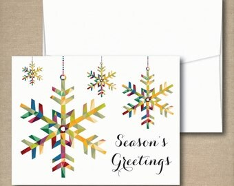 Christmas Cards, Holiday Card Set, Personalized Holiday Cards - Seasons Greetings Colorful Snowflakes