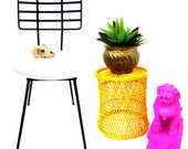 Vtg Mid-Century Bright Yellow Woven Rattan Basket || Bohemian Side Table / Plant Stand | Pendant Lamp || Color Pop Home Decor