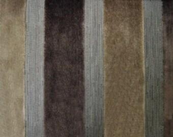 Modern Velvet Stripe Mink Fabric