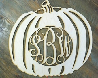 Pumpkin Initial Wooden Monogram